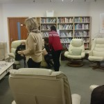 a library with big comfy chairs