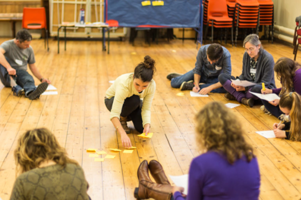 a group of people sitting on a wooden floor writing down ideas